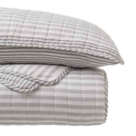 Nicole Miller Saltwater Stripe Quilt and Sham Set - Queen in Gray - Closeouts