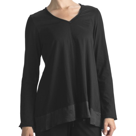 Nicole Miller Satin-Trimmed Swing Shirt - Long Sleeve (For Women) in Jet Black