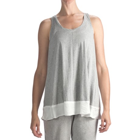 Nicole Miller Satin-Trimmed Swing Tank Top (For Women) in Heather Grey
