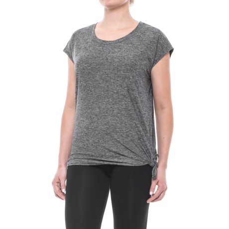 Nicole Miller Side-Tie Shirt - Short Sleeve (For Women) in Black Heather