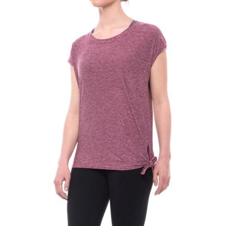 Nicole Miller Side-Tie Shirt - Short Sleeve (For Women) in Red Plum Heather