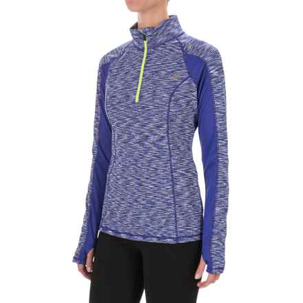 Nicole Miller Space-Dyed Zip Neck Shirt - Long Sleeve (For Women) in Spectrum Blue - Closeouts
