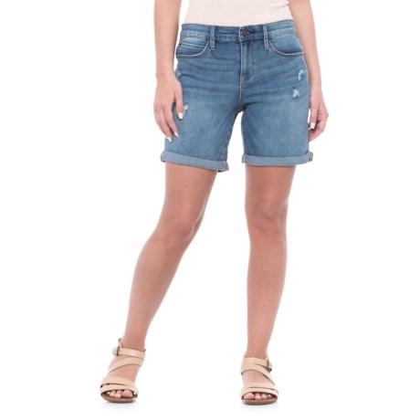 Nicole Miller Stockyard Wash Denim Shorts (For Women) in Medium Blue