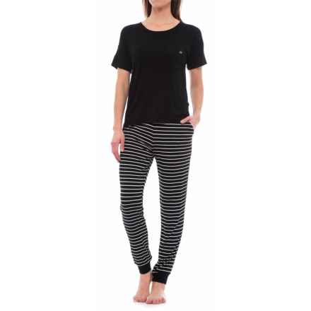 Nicole Miller Stretch Rayon Jogger Pajamas - Short Sleeve (For Women) in Black Wide Stripe/Coral/Black - Closeouts