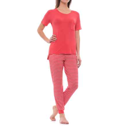 Nicole Miller Stretch Rayon Jogger Pajamas - Short Sleeve (For Women) in Sunlit Coral Wide Stripe - Closeouts