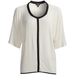 Nicole Miller Stretch Rayon Loungewear Shirt - Elbow Sleeve (For Women) in Ivory