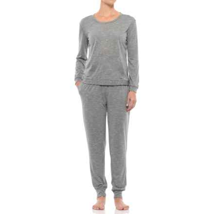 Nicole Miller Striped Loungewear Set - Long Sleeve (For Women) in Charcoal - Closeouts