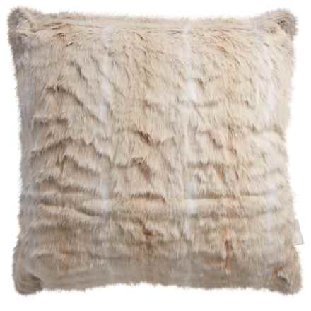 "Nicole Miller Striped Wolf Pillow - 20x20"", Faux Fur in White - Closeouts"