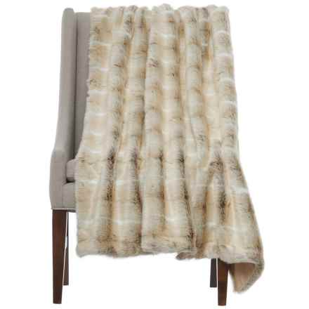 "Nicole Miller Striped Wolf Throw Blanket - 50x60"", Faux Fur in White - Closeouts"