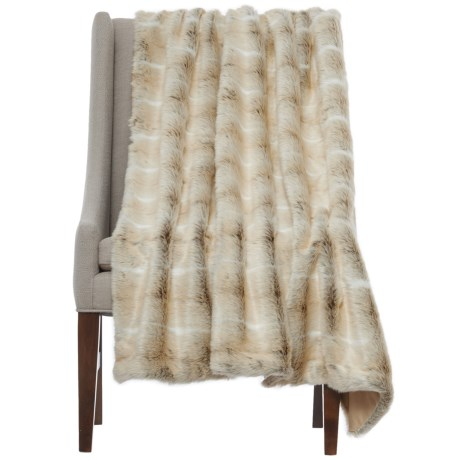 "Nicole Miller Striped Wolf Throw Blanket - 50x60"", Faux Fur in White"