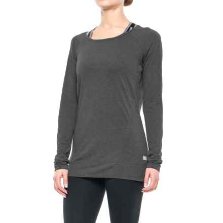 Nicole Miller Surplus Back Keyhole Shirt - Long Sleeve (For Women) in Charcoal Heather - Closeouts