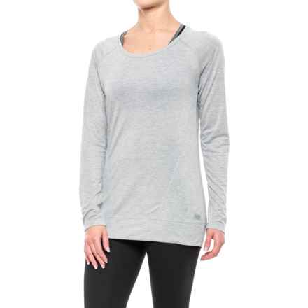 Nicole Miller Surplus Back Keyhole Shirt - Long Sleeve (For Women) in Grey Heather - Closeouts