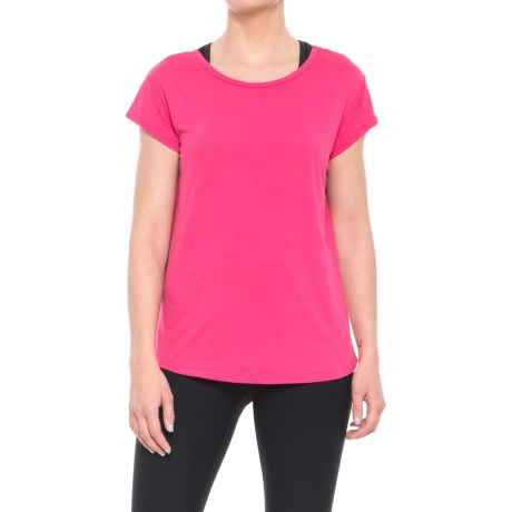Nicole Miller T-Back T-Shirt - Short Sleeve (For Women) in Pink Peacock