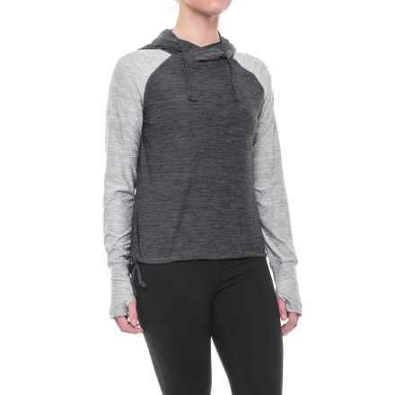 Nicole Miller Two-Tone Cropped Hoodie Shirt - Long Sleeve (For Women) in Grey Heather - Closeouts