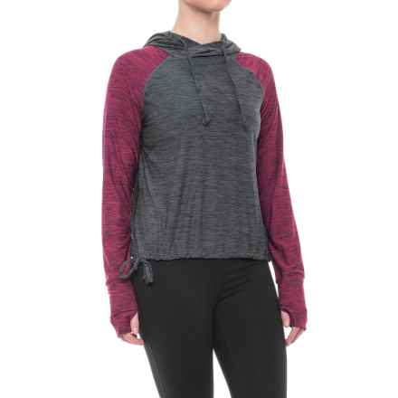 Nicole Miller Two-Tone Cropped Hoodie Shirt - Long Sleeve (For Women) in Red Plum Htr - Closeouts