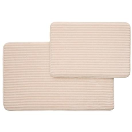 "Nicole Miller Ultimate Luxury Stripe Bath Rug Set - 17x24"", 21x34"", Ivory in Ivory"