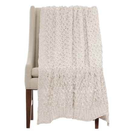 "Nicole Miller Wave Check Throw Blanket - 50x60"" in Ivory/Grey - Closeouts"