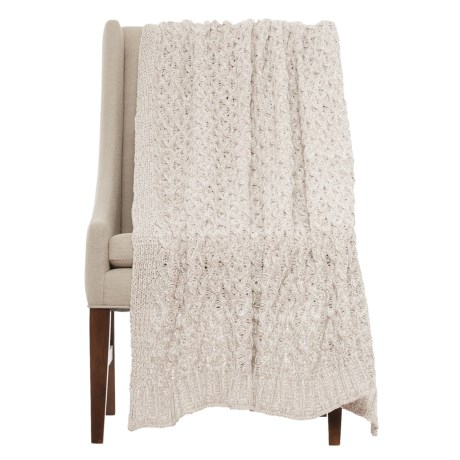 "Nicole Miller Wave Check Throw Blanket - 50x60"" in Ivory/Grey"