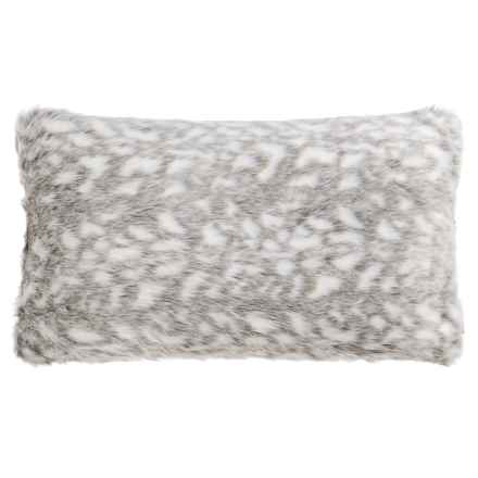 "Nicole Miller Winston Faux-Fur Throw Pillow - 14x24"" in Grey/White - Closeouts"