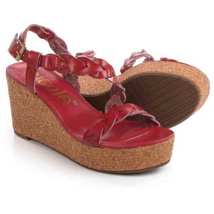Nicole Perrie Braided Strap Wedge Sandals (For Women) in Currant - Closeouts