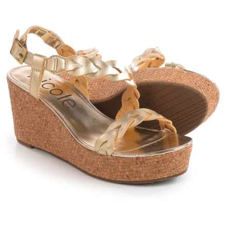 Nicole Perrie Braided Strap Wedge Sandals (For Women) in Gold - Closeouts