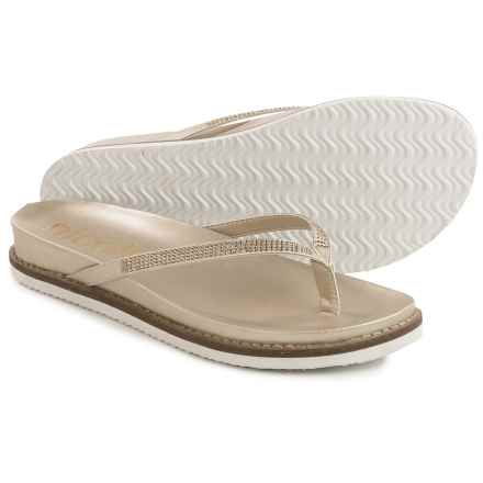 Nicole Studded Rhody Flip-Flops - Vegan Leather (For Women) in Gold - Closeouts