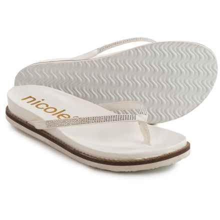 Nicole Studded Rhody Flip-Flops - Vegan Leather (For Women) in White - Closeouts