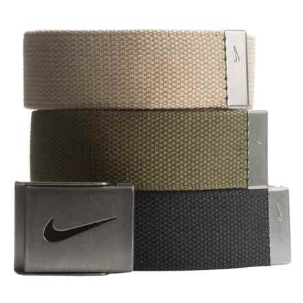 Nike 3-in-1 Web Belts - 3-Pack (For Men) in Black/Cargo Khaki/Khaki - Closeouts