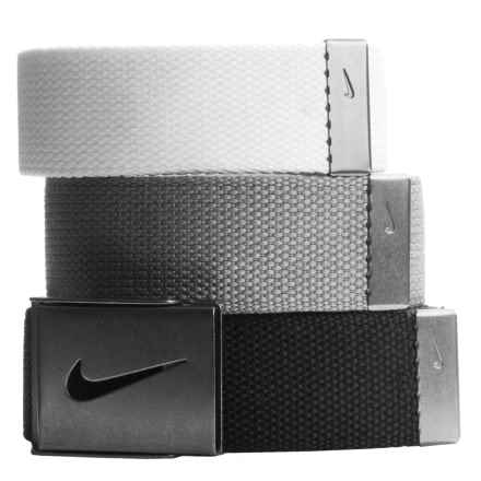 Nike 3-in-1 Web Belts - 3-Pack (For Men) in White/Grey/Black - Closeouts