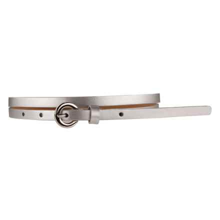 Nike Classic Skinny Belt - Leather (For Women) in Silver - Closeouts