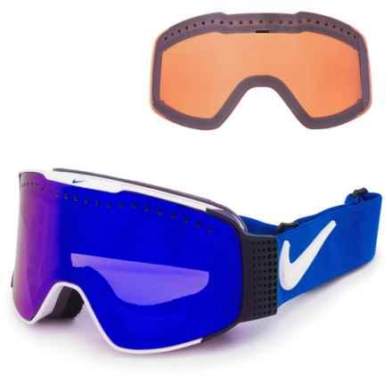 Nike Fade Ski Goggles - Extra Lens in White/Dark Smoke Blue-Silver Ion - Closeouts