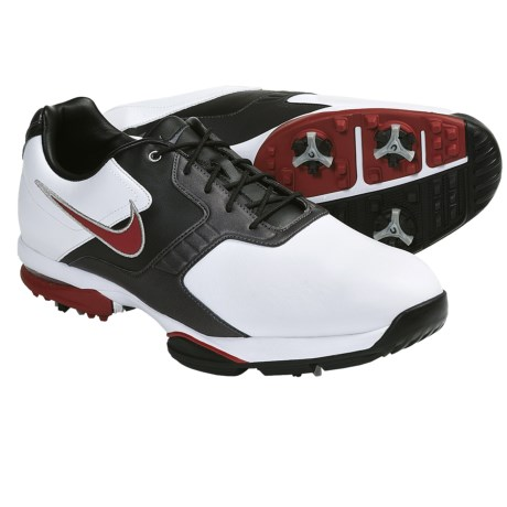 Nike Golf Air Academy II Golf Shoes (For Men) in White/Varsity Red/Metallic Dark Grey/Black