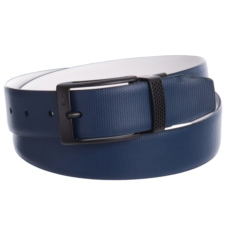 Nike Keeper Cutout Reversible Belt - Leather (For Men) in Blue/White