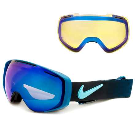 Nike Khyber Ski Goggles - Extra Lens in Black Blue/Blue Steel-Yellow Blue Ion - Closeouts