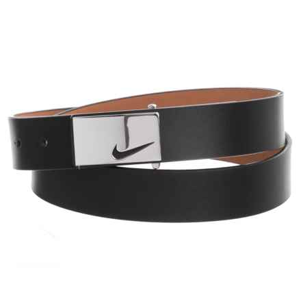 Nike Sleek Modern Logo Belt - Leather (For Women) in Black - Closeouts