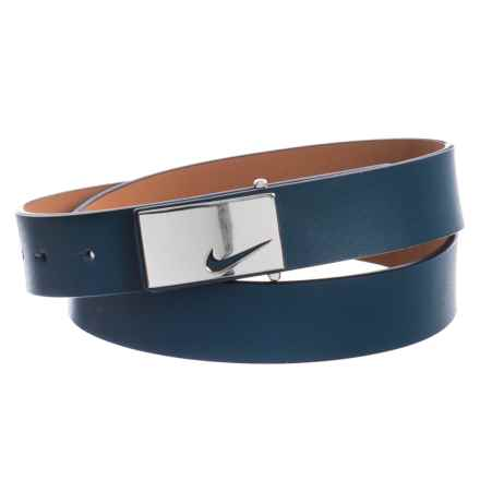 Nike Sleek Modern Logo Belt - Leather (For Women) in Navy - Closeouts