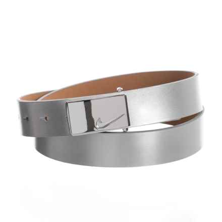 Nike Sleek Modern Logo Belt - Leather (For Women) in Silver - Closeouts
