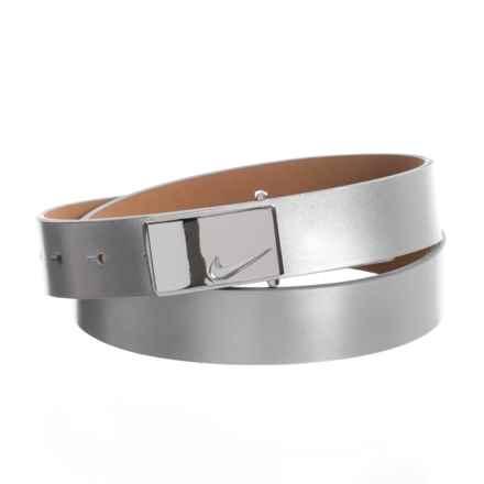 Nike Sleek Modern Logo Belt - Leather (For Women) in Silver - Closeouts