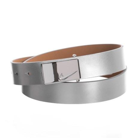 Nike Sleek Modern Logo Belt - Leather (For Women) in Silver