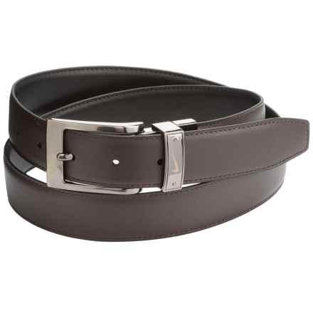 Nike Swoosh Laser Loop Belt - Leather, Reversible (For Men) in Black/Brown - Closeouts