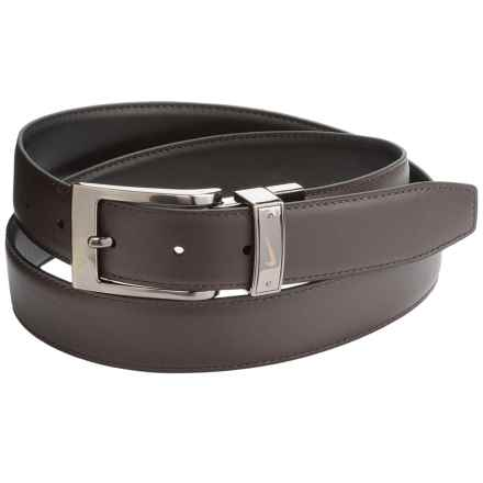 Nike Swoosh Laser Loop Belt - Leather, Reversible (For Men) in Black/Brown - Closeouts