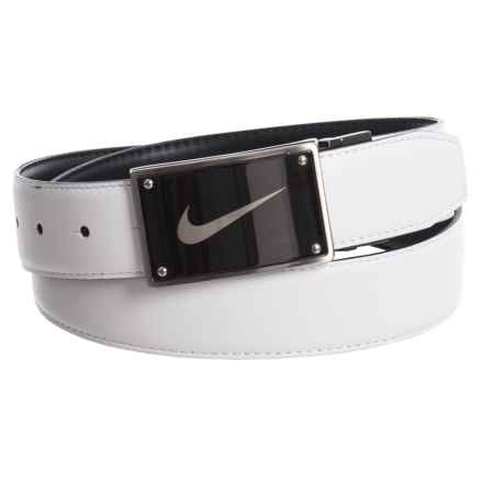 Nike Swoosh Laser Plaque Belt - Leather (For Women) in Black/White - Closeouts