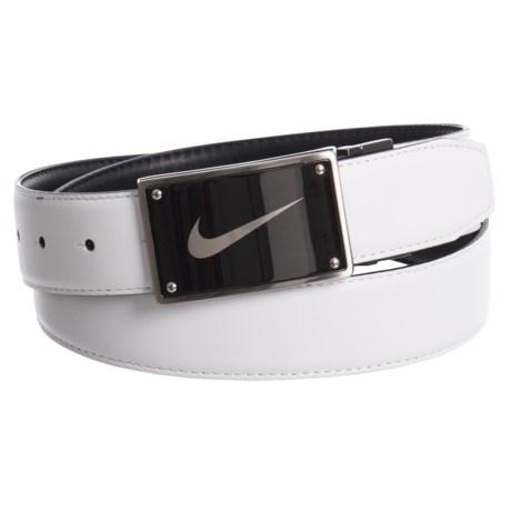 Nike Swoosh Laser Plaque Belt - Leather (For Women) in Black/White