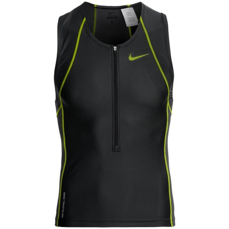 Nike Triathalon Swim Top - Zip Neck (For Men) in Stealth