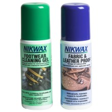 Nikwax Clean & Waterproof Fabric-Leather Footwear Kit - Twin Pack, 4.2 fl.oz. in Asst - Closeouts