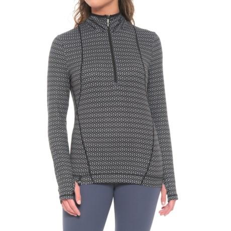 NILS Skiwear Brooklyn Base Layer Top - Zip Neck, Long Sleeve (For Women) in Black/White Velocity Print