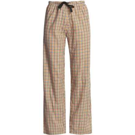 Nina Capri Cotton Lounge Pants - Drawstring (For Women) in Orange/Navy/White/Sage Plaid - Closeouts