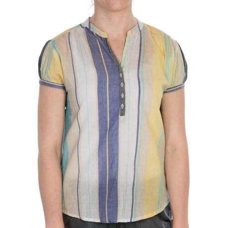 Nina Capri Cotton Voile Shirt - Short Sleeve (For Women) in Blue Stripe