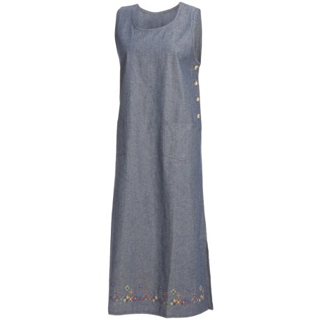 Nina Capri Embroidered Jumper - Cotton, Sleeveless (For Women) in Denim W/Embroidery