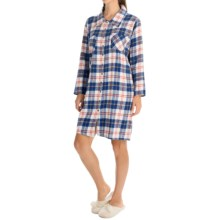 Nina Capri Flannel Button Nightshirt - Long Sleeve (For Women) in Blue Assorted - Closeouts